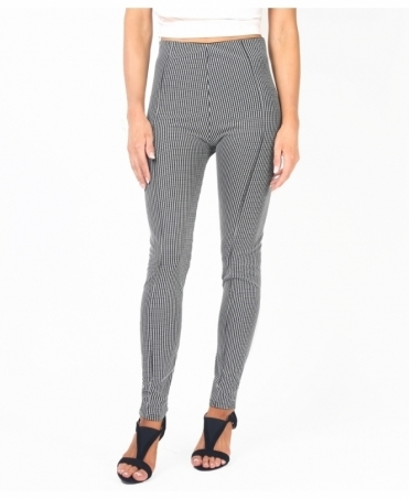 Front Pleat Gingham Pencil Trousers