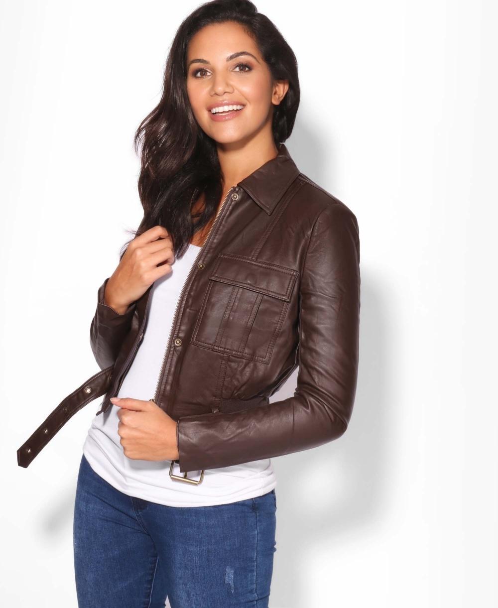 4ef531a35a3 Jackets | Front Pocket PU Cropped Jacket | Krisp