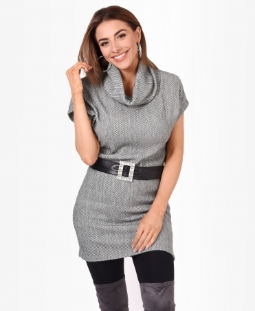 Funnel Neck Plush Jumper Dress