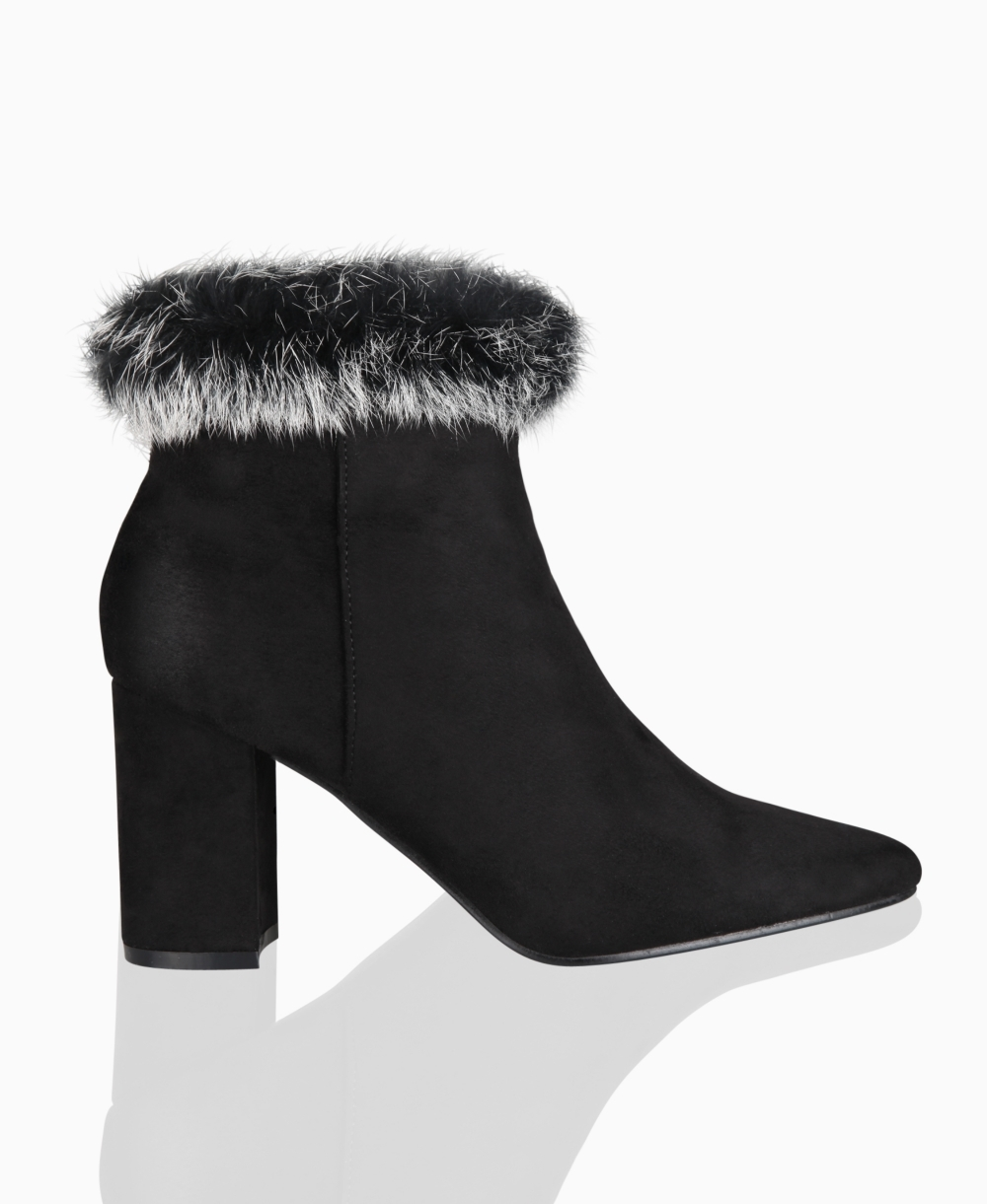 Ankle Boots | Fur Cuff Faux Suede Ankle