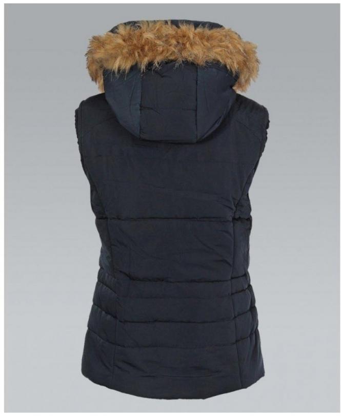 aa7d5263d KRISP Fur Lined Hooded Sleeveless Navy Padded Gilet