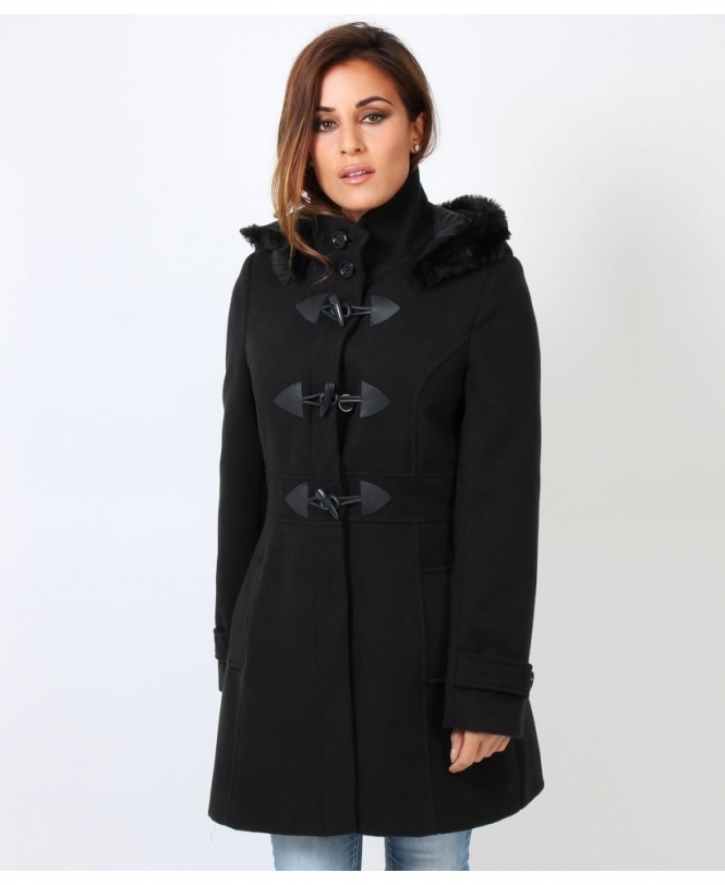 Fur Trim Hooded Duffle Coat Winter Black