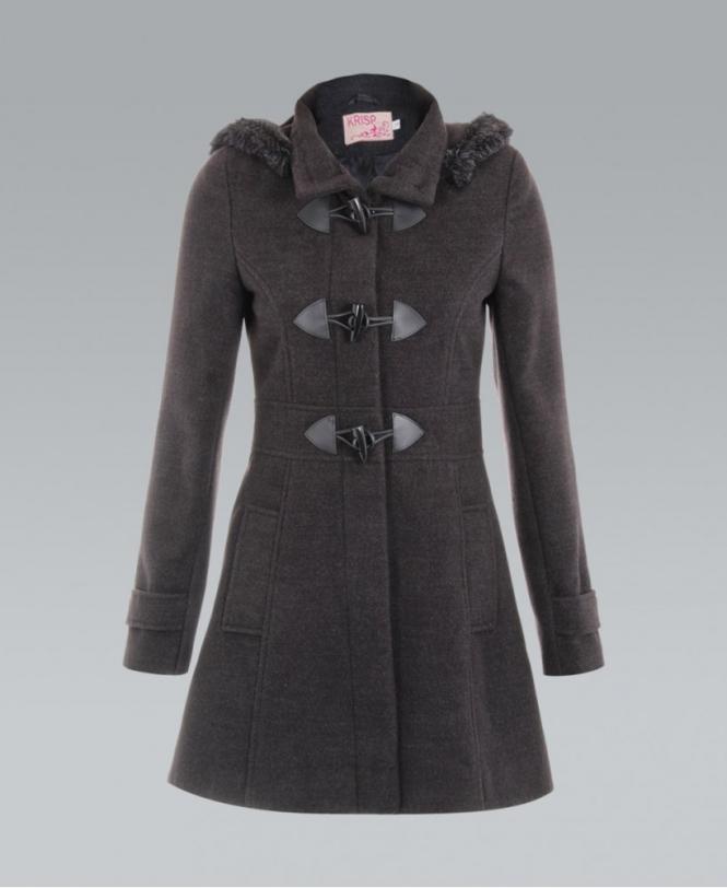 KRISP Fur Trim Hooded Woollen Rockabilly Charcoal Duffle Coat ...