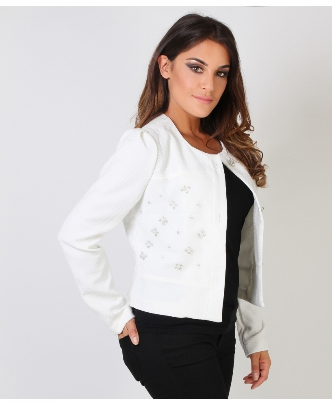 KRISP Gem Embellished Vintage Look Jacket