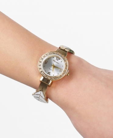 Gem Trim Round Face Watch