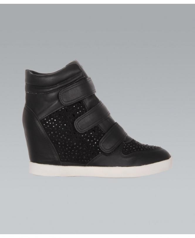 black high heel trainers