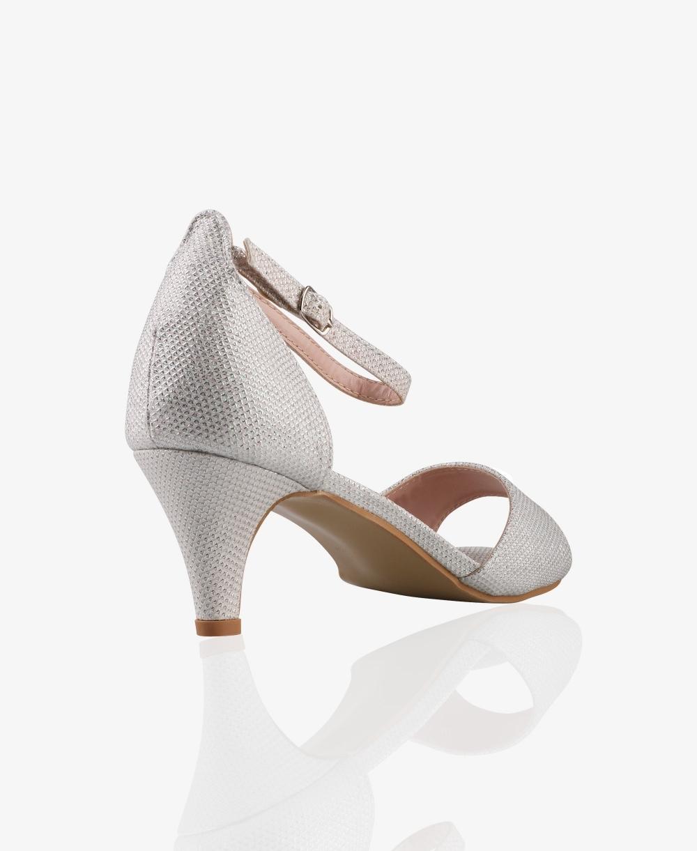Glitter Ankle Strap Kitten Heels