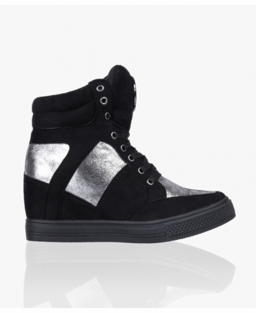 Glitter Panel Wedge Trainers