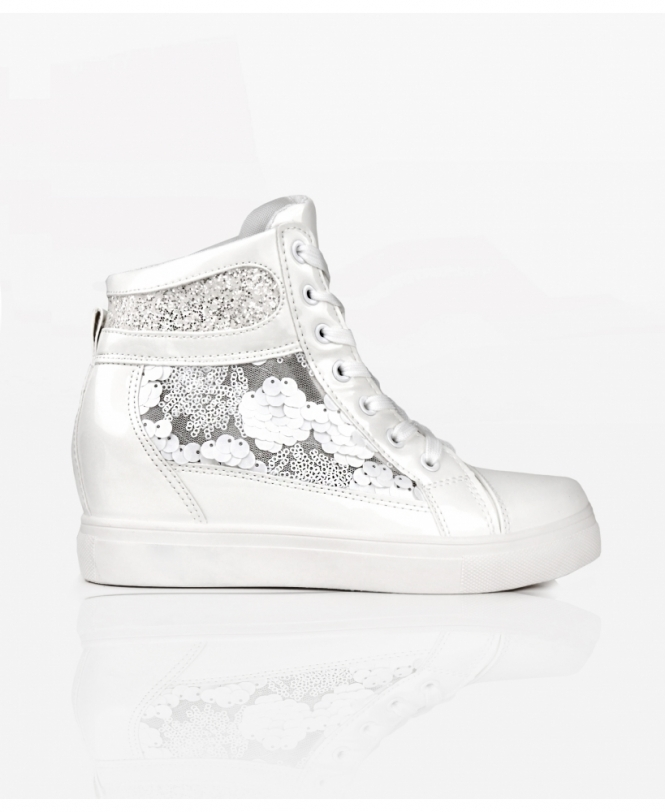 KRISP Glitter & Sequins Metallic Wedge Trainers