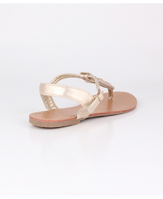 c82878e5f2211 Glitzy Leaf T-Bar Flat Sandals