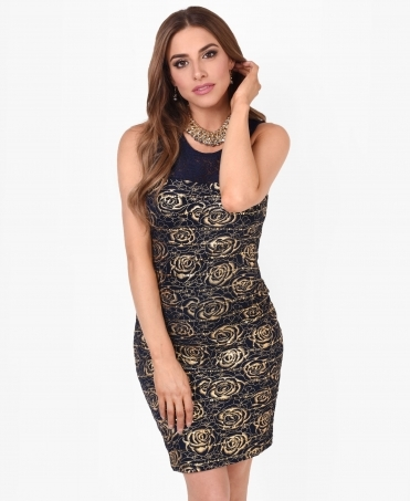 Gold Rose Print Tunic Dress
