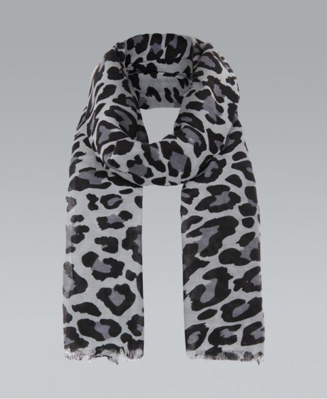 Grey leopard print wide scarf