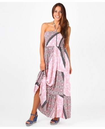 Halter Neck Shirrred Maxi Dress