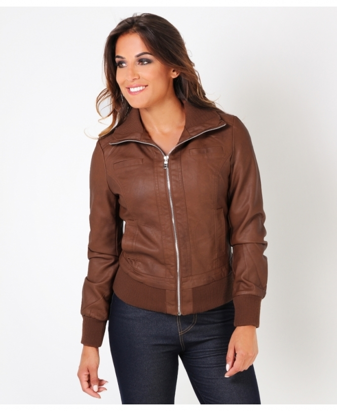 KRISP High Neck Zip Up Biker Jacket