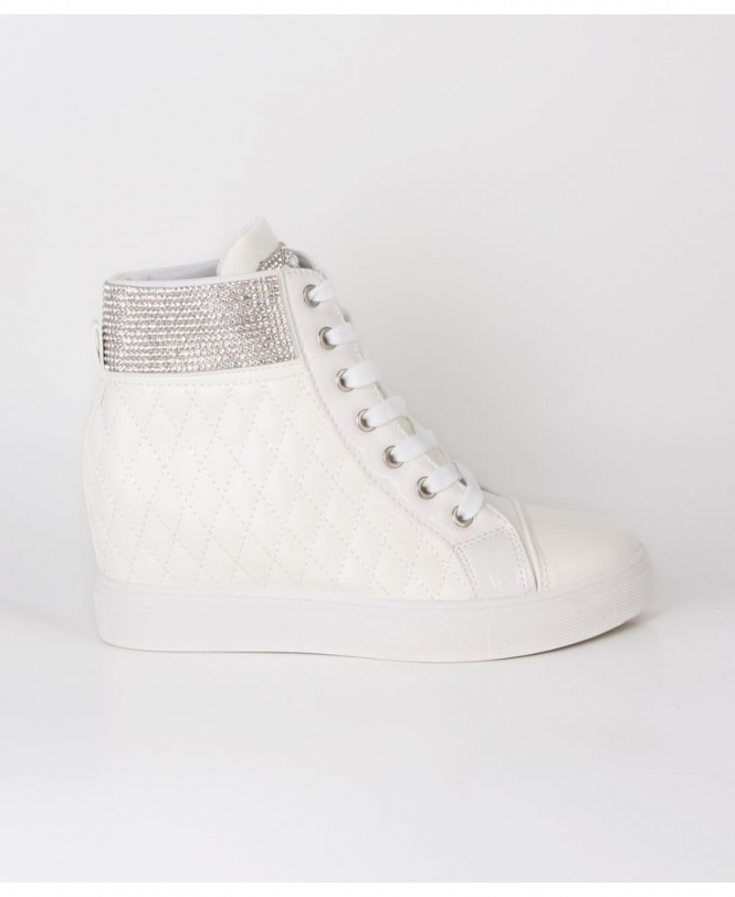 Krisp High Top Quilted Wedge Trainers