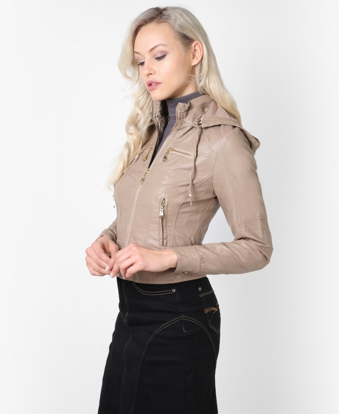 KRISP Hooded Crop Biker Jacket