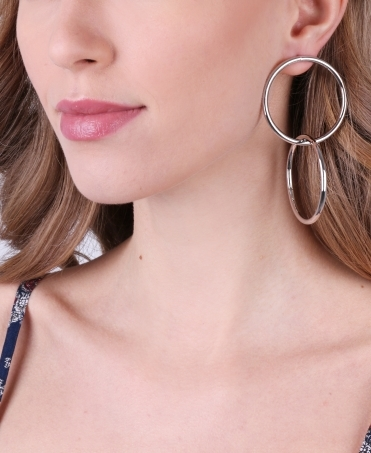 Interlocking Hoop Dangle Earrings