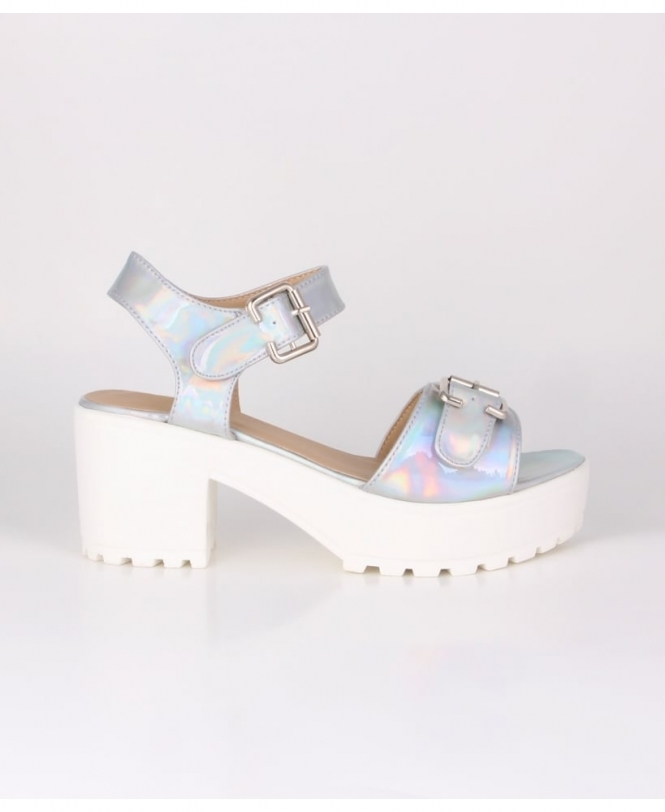 Krisp Iridescent Chunky Platform Sandals