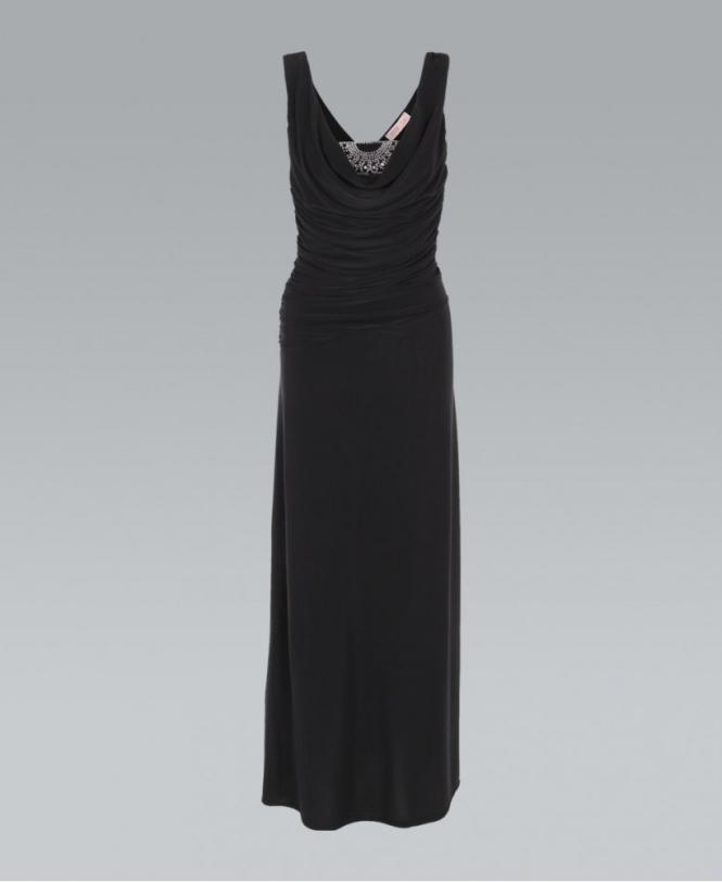 c2935ebf2101 KRISP Jewelled Front Low Cut Cowl Neck Black Maxi Dress