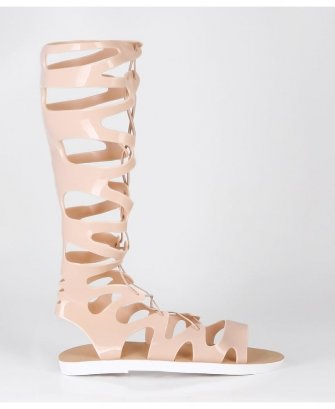 KRISP Knee High Jelly Gladiator Sandals