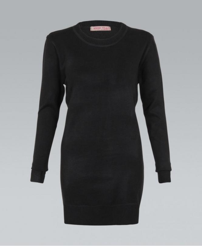 0c416ca6c229ea KRISP Knitted Plain Black Ribbed Longline Jumper - Womens from Krisp ...