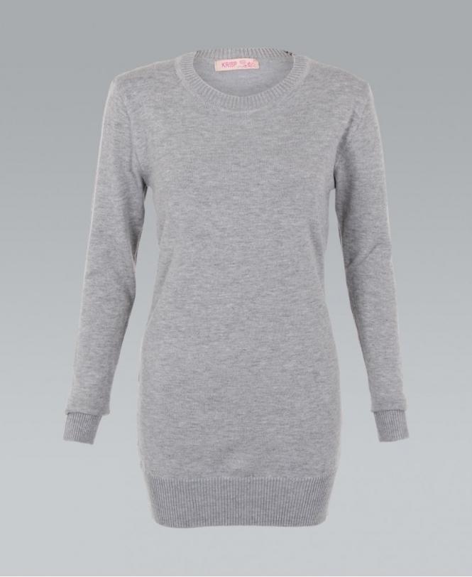 ef66d1088c6561 KRISP Knitted Plain Grey Ribbed Longline Jumper - Womens from Krisp ...