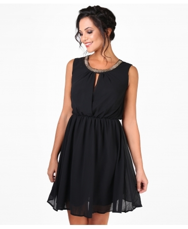 Lace Back Drape Chiffon Dress