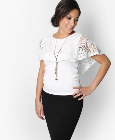 Lace Cape Top with Necklace