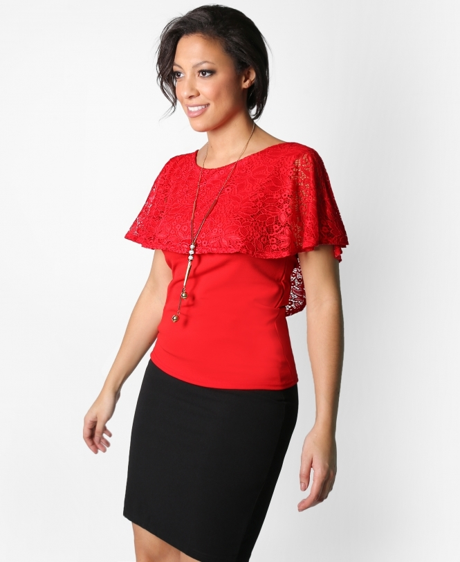 KRISP Lace Cape Top with Necklace