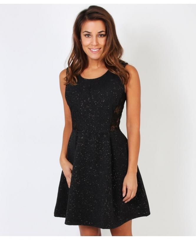 Black lurex skater dress