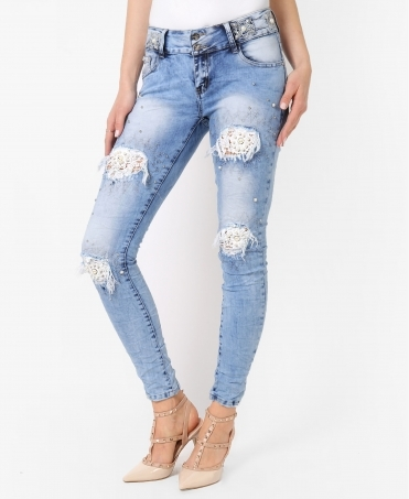 Lace & Pearl Knee Skinny Jeans