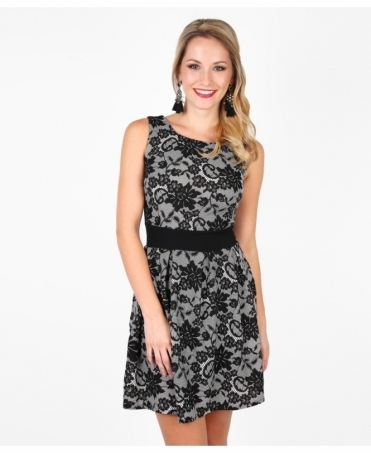 Lace Print Sleeveless Skater Dress
