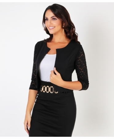 Lace Sleeve Cropped Evening Shrug