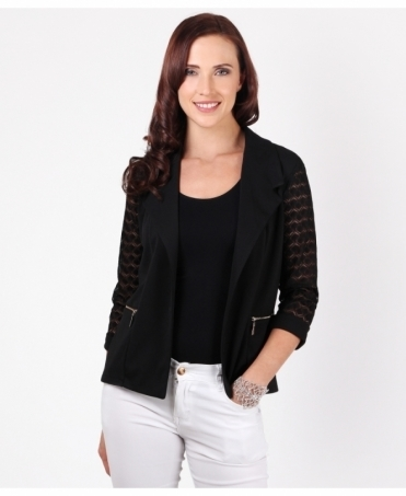 Lace Sleeve Open Blazer