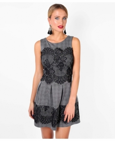 Lace Trim Check Skater Dress