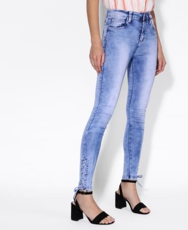 Lace-up Ankle Skinny Jeans