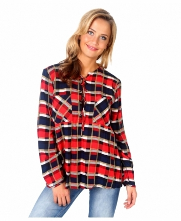 Lace Up Front Check Shirt