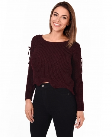 Lace Up Sleeve Cropped Jumper