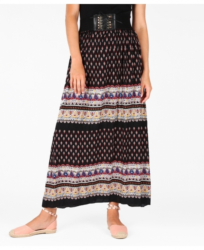 KRISP Lace Up Waist Ethnic Maxi Skirt