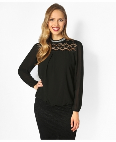 Lace Yoke Bubble Hem Blouse