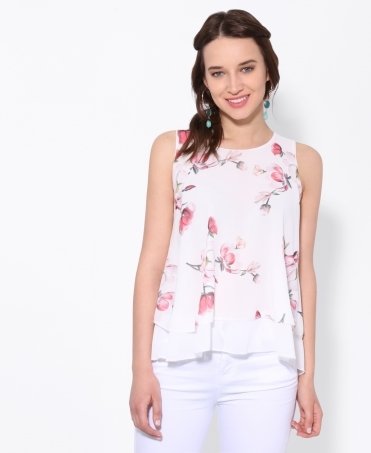 Ladder Back Floral Chiffon Top