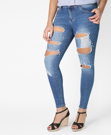 Large Rip Beaded Skinny Jeans