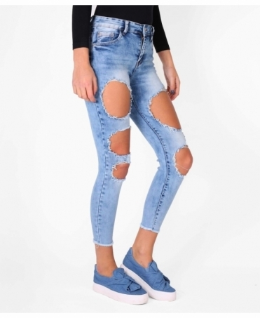Large Rip High Rise Jeans