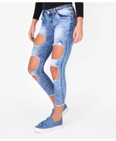Large Rip Low Rise Jeans