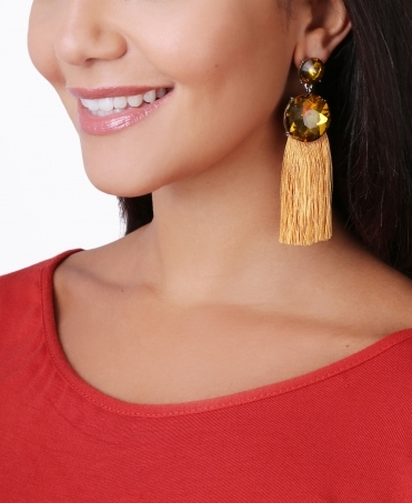 Large Stone Tassel Drop Earrings