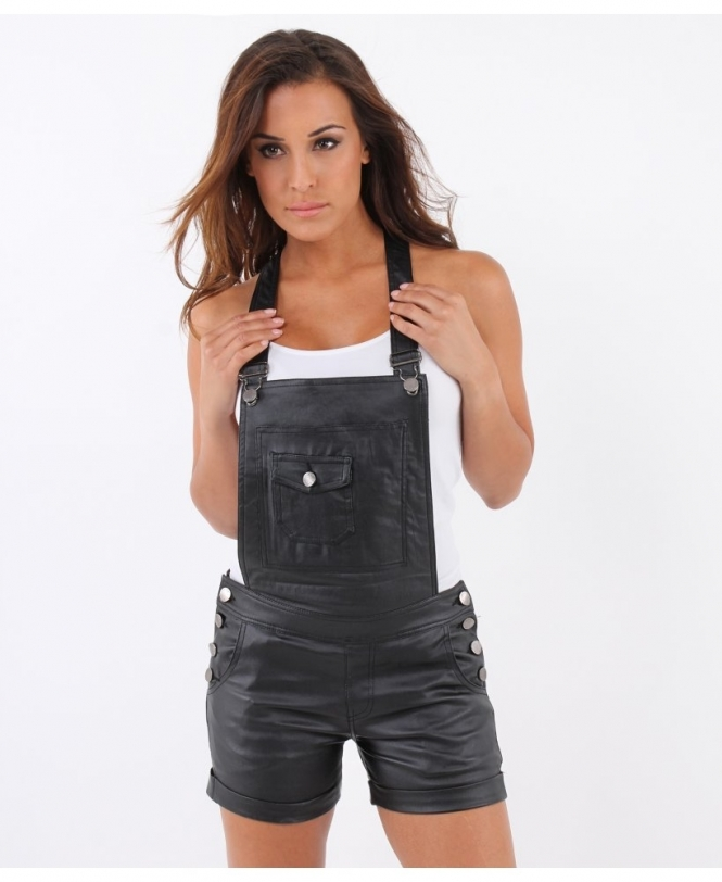 8fc5dfec066 Leather Look Dungaree Shorts on Sale