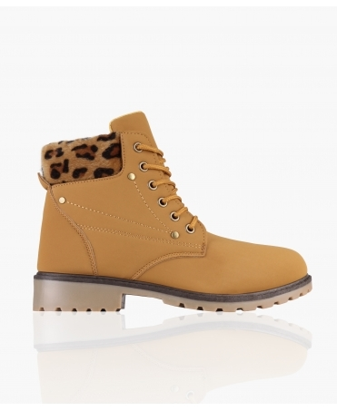 Leopard Cuff Worker Boots