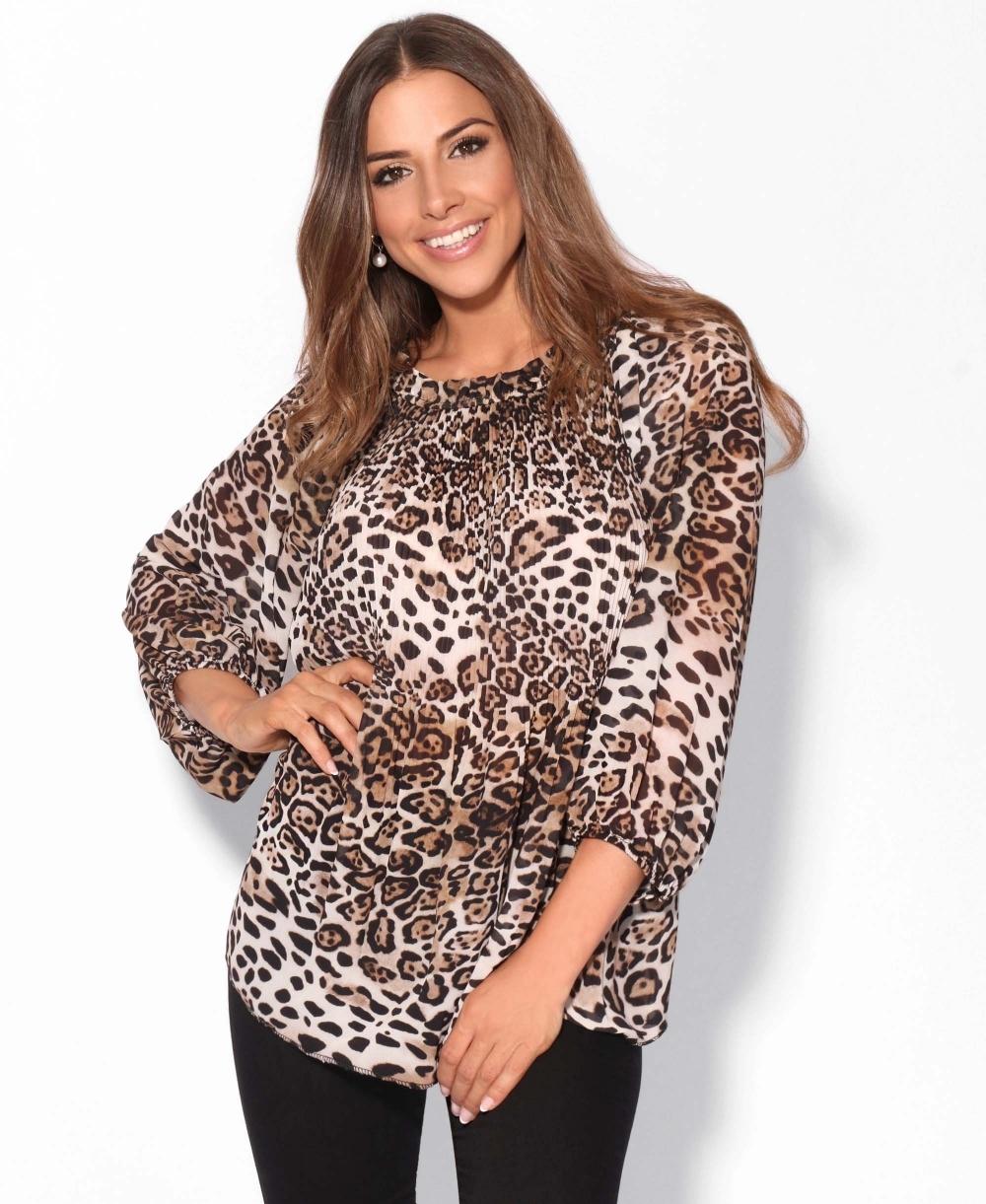 b505beb113d1c8 Blouses | Leopard Pleated Swing Chiffon Top | KRISP