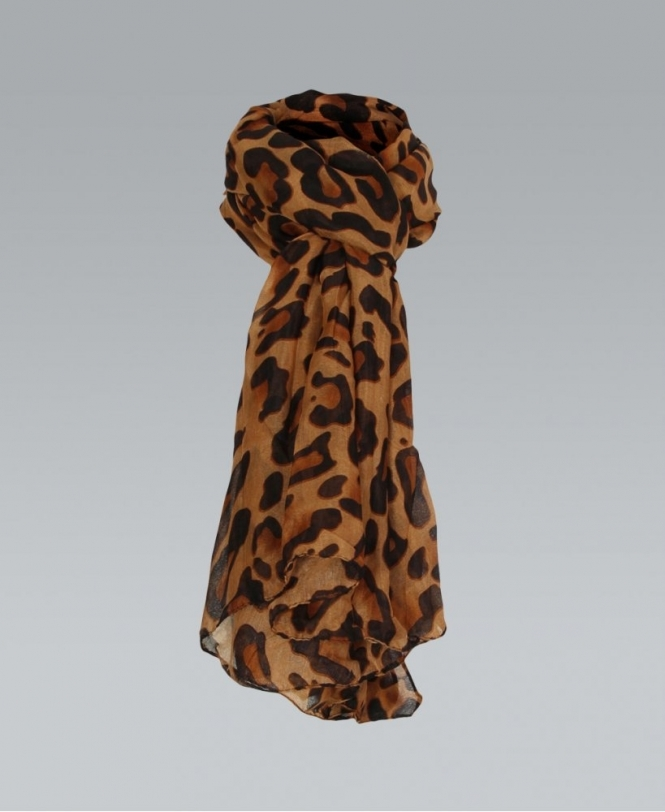 KRISP Leopard Printed Long Thin Brown Scarf