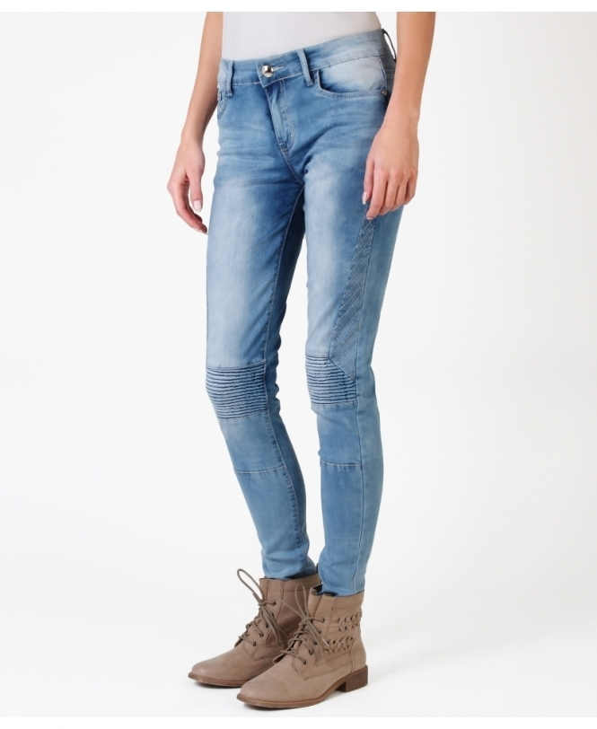 KRISP Light Wash Biker Jeans